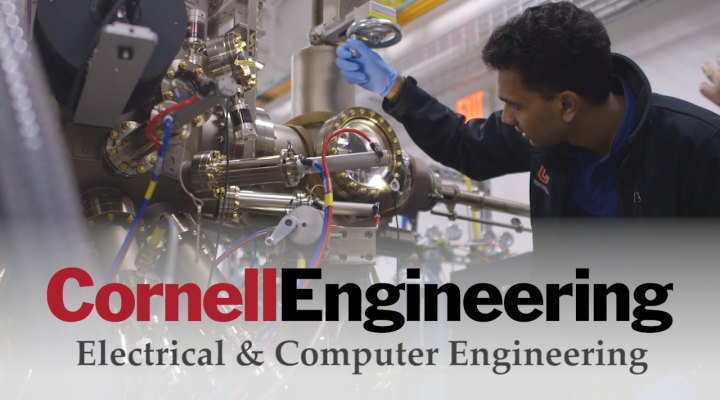 A student works in the lab. Cornell Engineering, Electrical and Computer Engineering