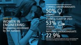 50% of Cornell Engineering Undergraduates are Women; 53% of the Cornell Engineering class of 2022 are female; the national undergraduate percentage of females in engineering is 22.9%